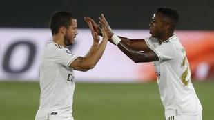 Hazard y Vinícius, durante el Madrid-Mallorca