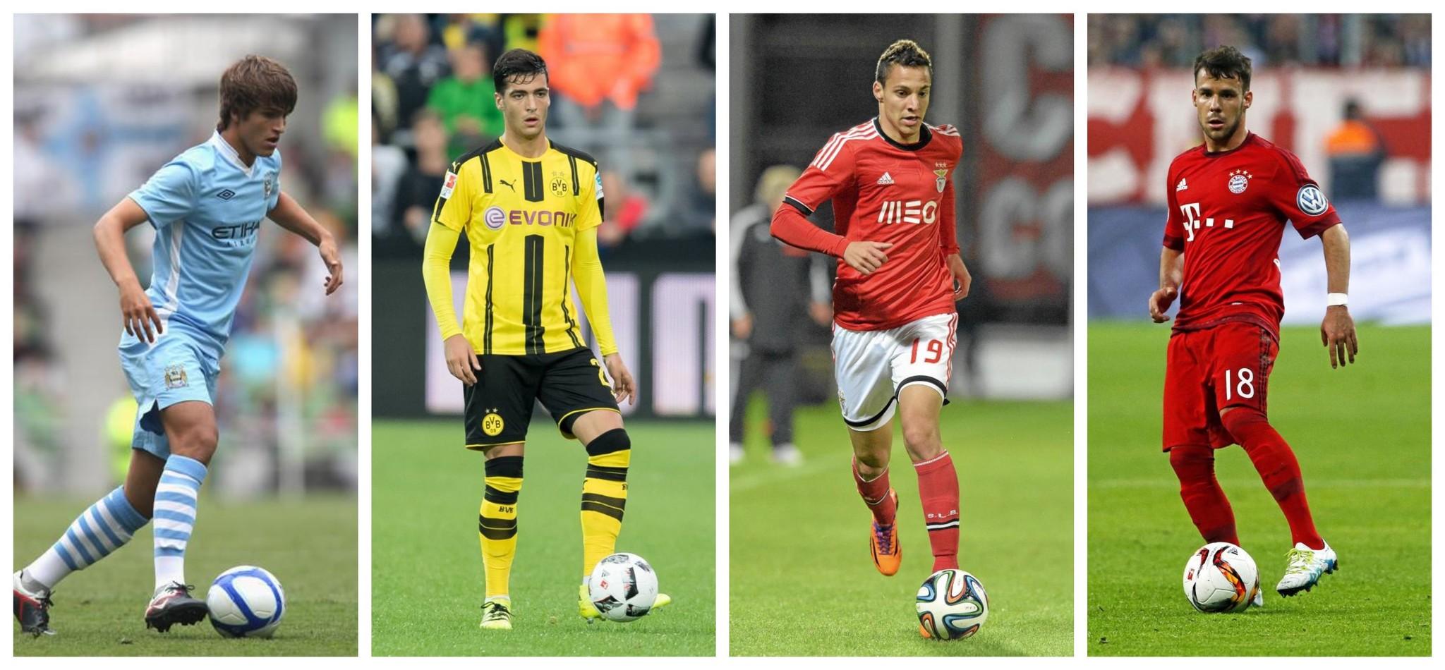 Denis Suárez (City), Merino (B. Dortmund), Rodrigo (Benfica) y Bernat (Bayern)