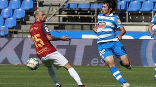 Gaku, en el partido que enfrentó al Dépor ante el Extremadura en...