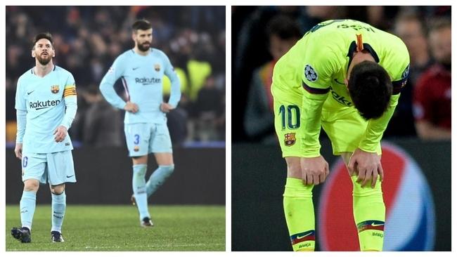 Messi y Piqué, a la izquierda, tras la derrota contra La Roma y el...