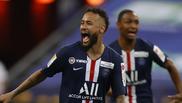 Neymar en la final de la Copa de la Liga de Francia.