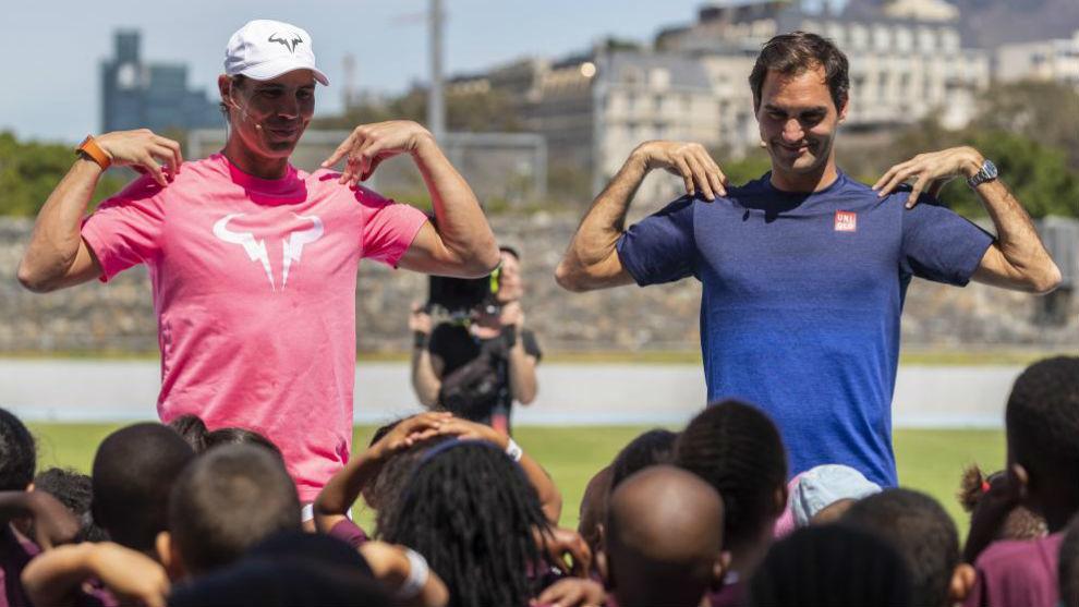 Nadal y Federer, en un acto promocional en Ciudad del Cabo