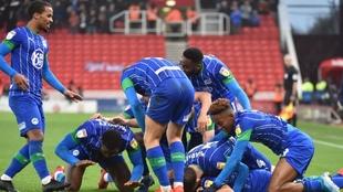 Los jugadores de Wigan celebrando un gol. FACEBOOK WIGAN ATHLETIC