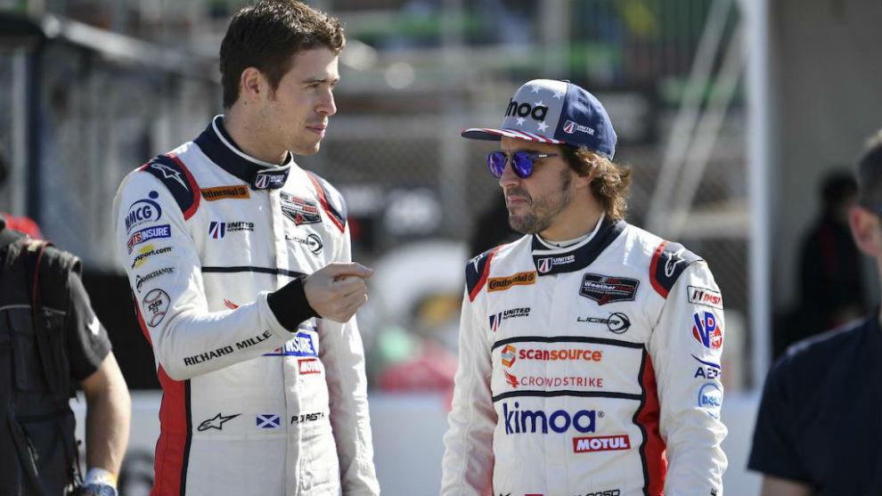Di Resta, junto a Alonso en las 24 Horas de Daytona de 2018.