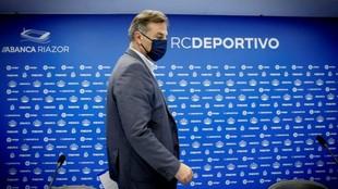 El presidente del Deportivo, Fernando Vidal, antes de la rueda de...