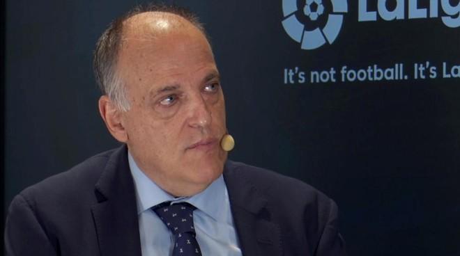 Javier Tebas, en una charla durante un fórum de fútbol.