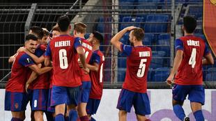 Festejo del triunfo del Basilea sobre el Eintracht.
