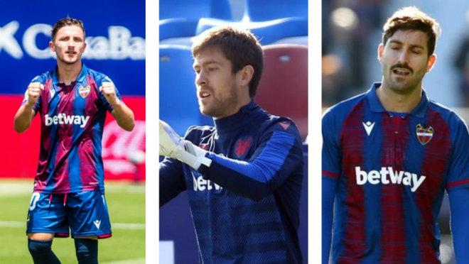 Los jugadores del Levante Bardhi, Aitor Fernández y Campaña.