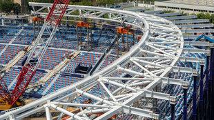 Obras en el estadio Ciutat de Valencia.