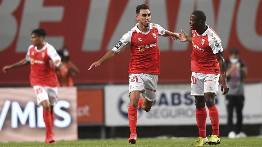 Ricardo Horta celebra un gol con el Braga