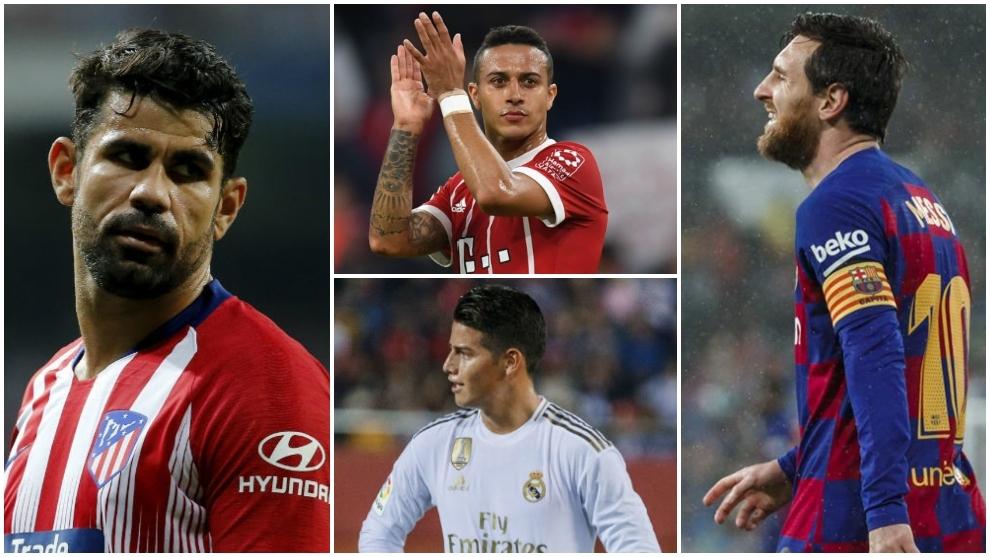 Diego Costa, Thiago, James y Leo Messi son algunos de los jugadores...