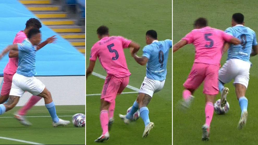 Garrafal error de Varane: ¡le robó la cartera Gabriel Jesús y Sterling marcó el primero!