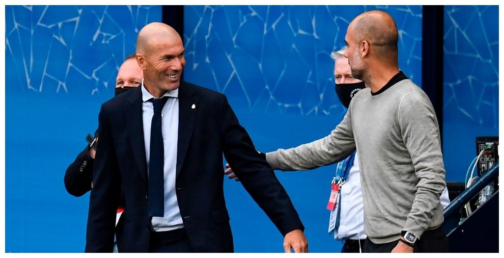 Zidane y Guardiola se saludan antes del partido
