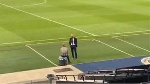 Zidane y Guardiola, charlando tras el City-Madrid.