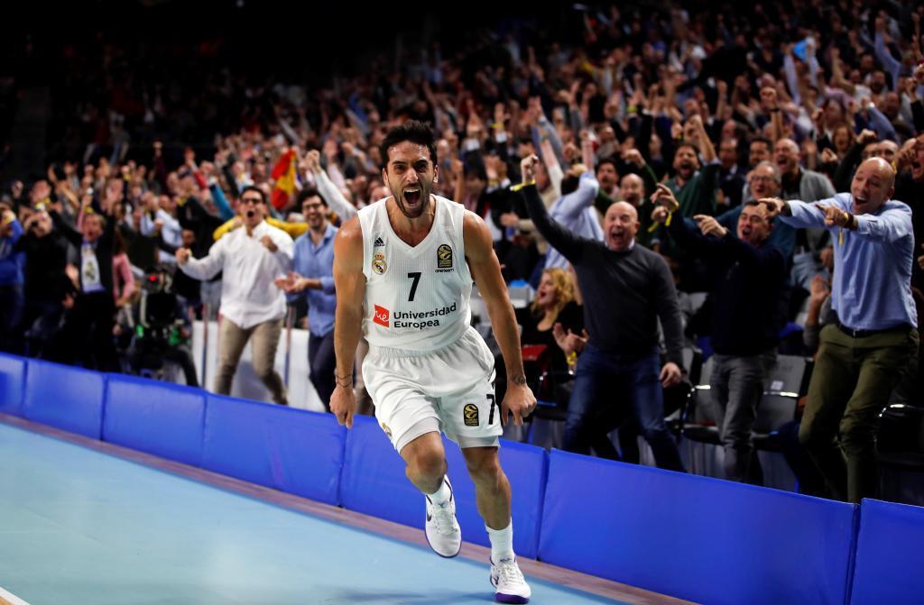 Facundo Campazzo celebra una victoria del Real Madrid.