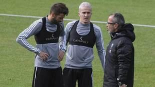 José Mari, Salvi y Álvaro Cervera en un entrenamiento del Cádiz