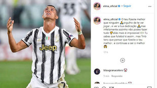 Imagen del mensaje de la Elma Aveiro, hermana de Cristiano, en su...