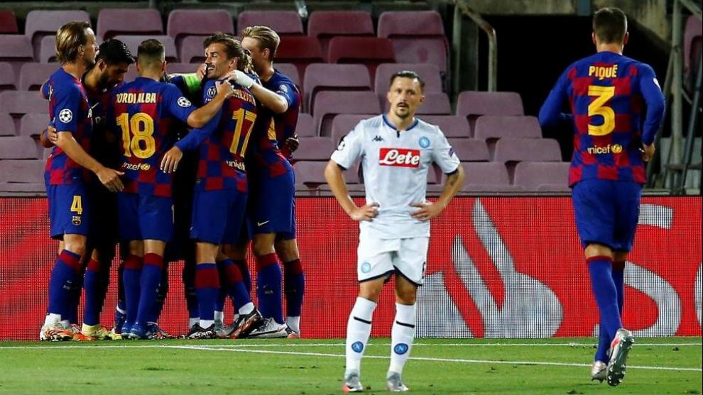 Gol del Barça contra el Nápoles
