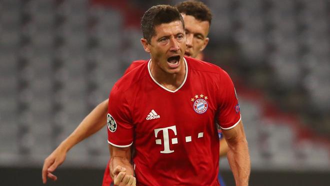 Robert Lewandowski celebrando un gol del Bayern Munich ante el Chelsea.