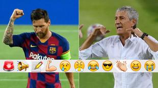 Messi y Setién, contra el Nápoles
