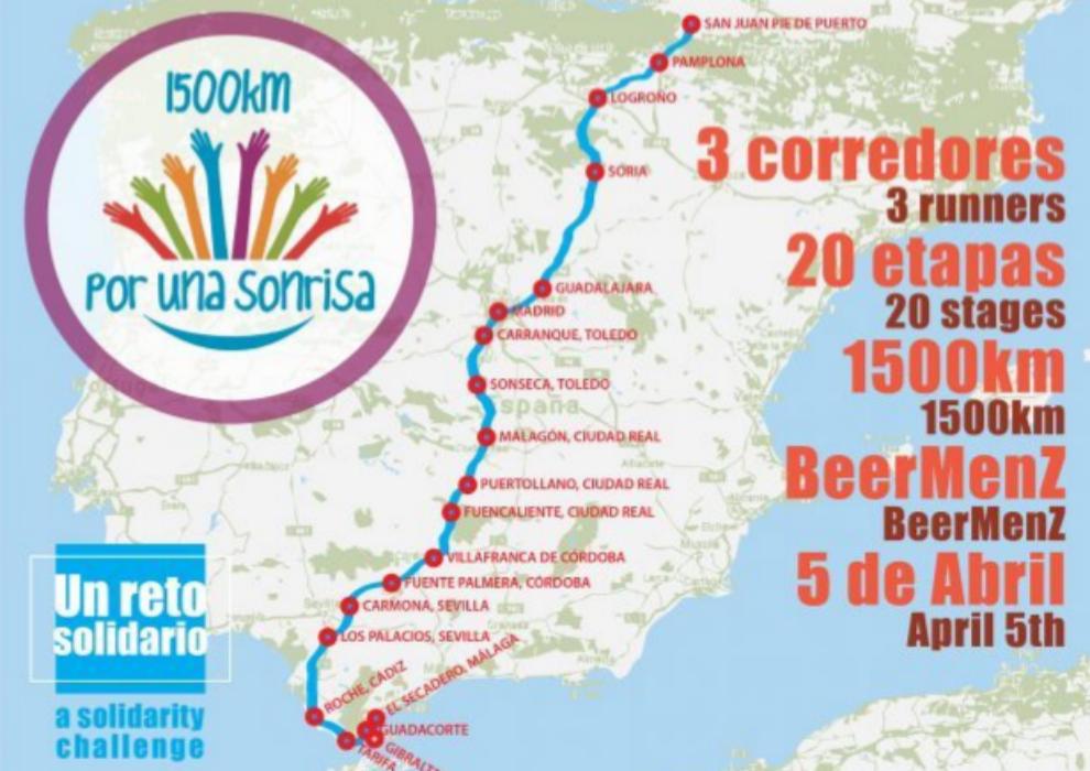 Itinerario del desafío Por Una Sonrisa, con la fecha antes de posponerse por el confinamiento.