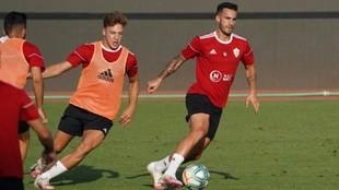 Los jugadores del Almería durante un reciente entrenamiento.