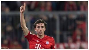Odriozola, durante el partido con el Bayern.
