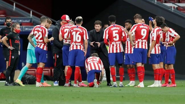 Los jugadores del Atlético, en un partido.