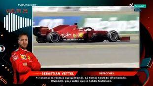 Sebastian Vettel reprocha por radio a su equipo.