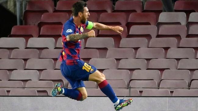 Messi celebra su gol ante el Nápoles.