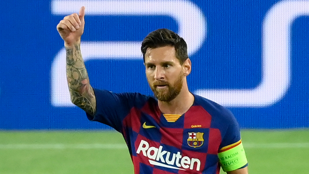 Barcelonas Argentine forward Lionel lt;HIT gt;Messi lt;/HIT gt; celebrates after scoring a goal during the UEFA Champions League round of 16 second leg football match between FC Barcelona and Napoli at the Camp Nou stadium in Barcelona on August 8, 2020. (Photo by LLUIS GENE / AFP)