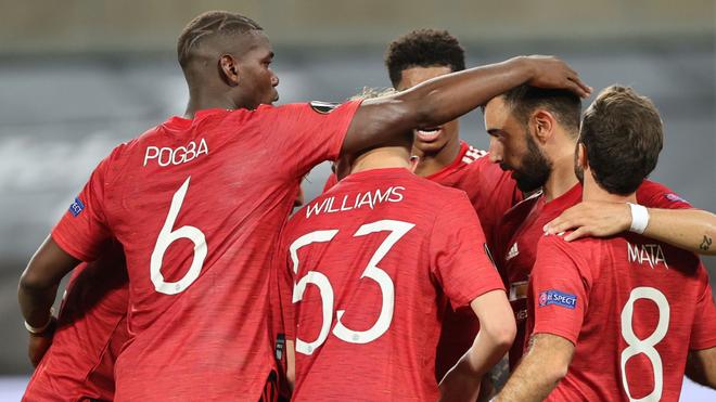 Así festejó el Manchester su pase a semifinales de la Europa League.