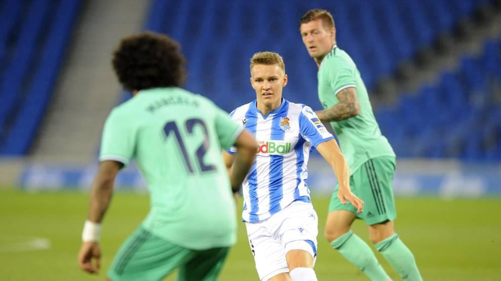 Odegaard en el partido ante el Real Madrid