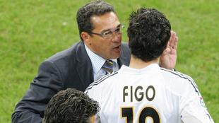 Luxemburgo y Figo en el Real Madrid en 2005