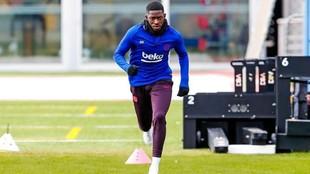 Dembélé, en un entrenamiento del Barcelona.