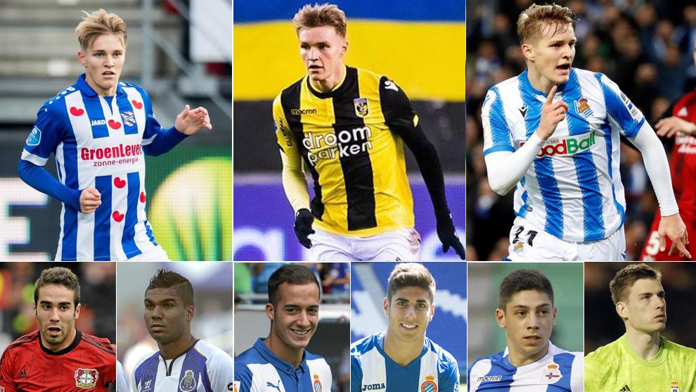 Odegaard, avec Heerenveen, Vitesse et La Real;  ci-dessous, Carvajal, ...