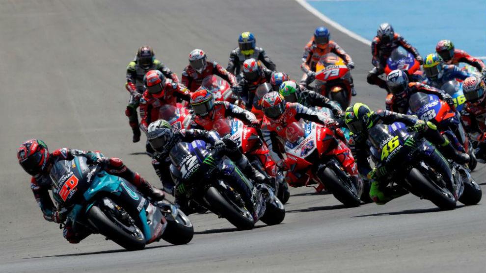 La salida del Gran Premio de Andalucía de MotoGP.
