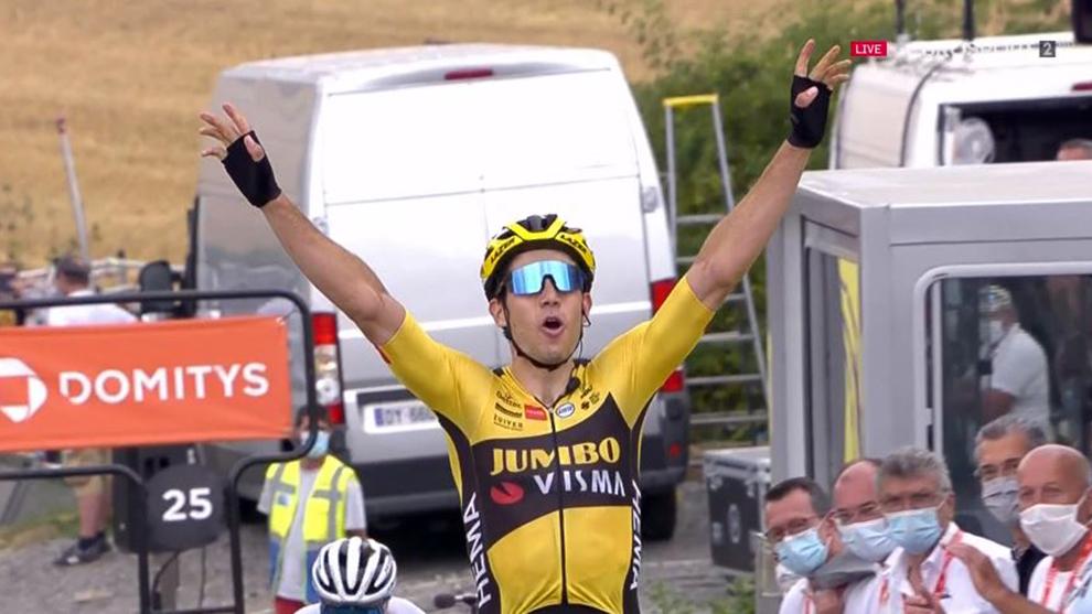 Wout Van Aert celebra su victoria