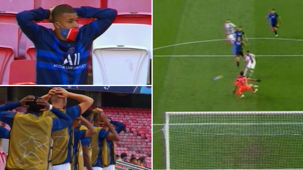 The reaction of the PSG bench after Neymar's big miss