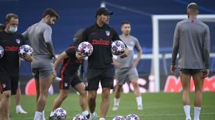 Simeone, durante el último entrenamiento del Atlético
