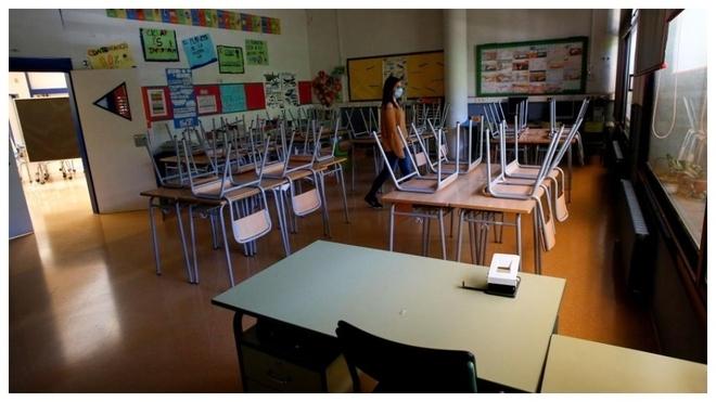 Aulas vacías en los colegios durante la pandemia de la COVID-19