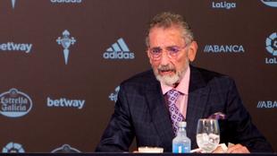 Carlos Mouriño, presidente del club gallego, durante la rueda de...