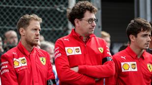 Vettel, Binotto y Leclerc.