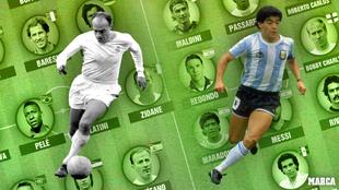 Di Stefano y Maradona encabezan los dos equipos.
