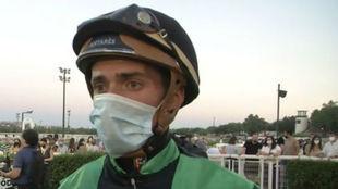 El jockey Ricardo Sousa, en el Hipódromo de la Zarzuela.