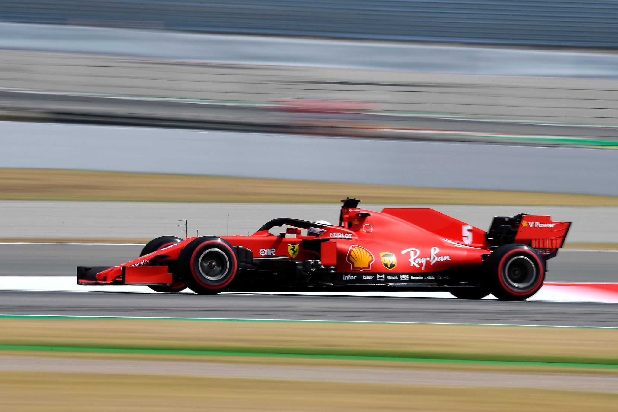 Ferraris German driver Sebastian lt;HIT gt;Vettel lt;/HIT gt; steers his car during the first practice session at the Circuit de Catalunya in Montmelo near Barcelona on August 14, 2020 ahead of the Spanish F1 Grand Prix. (Photo by Josep LAGO / POOL / AFP)
