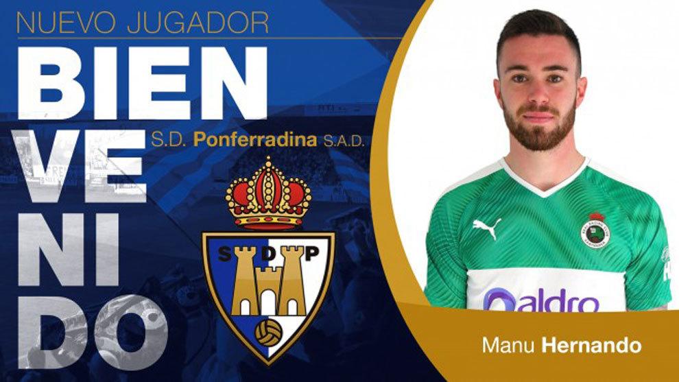 La Ponferradina alcanza un principio de acuerdo para la cesión de Manu Hernando