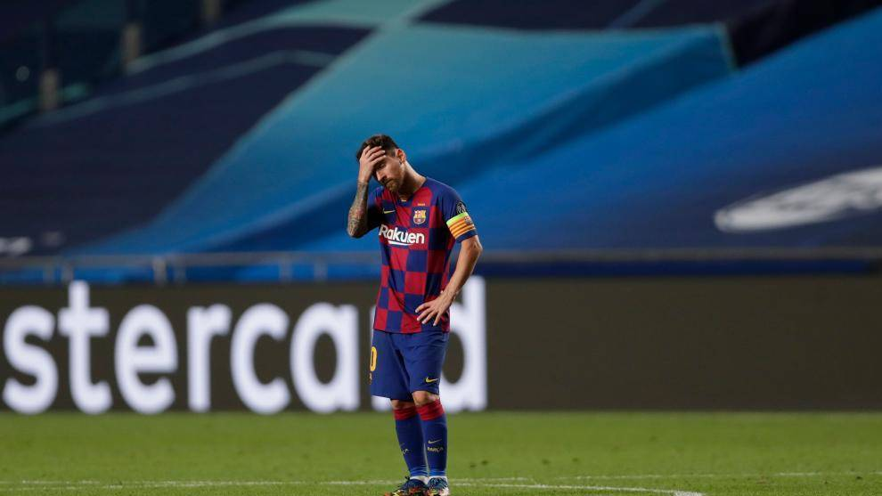 Messi, durante el partido ante el Bayern.