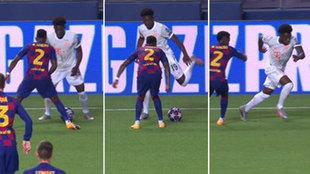 ¡El jugadón de la Champions! Davies se va de Messi, de Vidal, 'burrea' a Semedo... y sirve el gol en bandeja a Kimmich