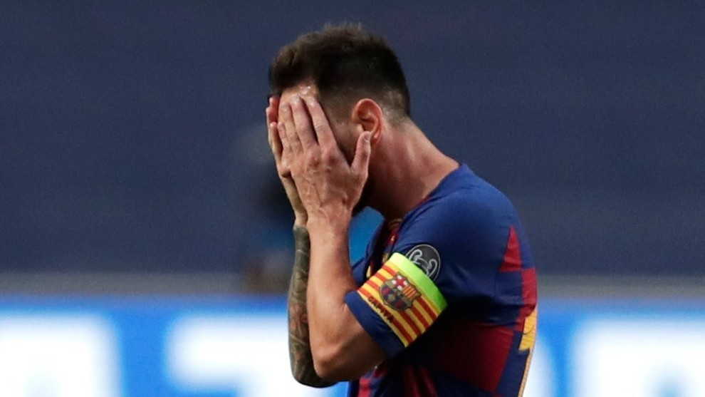 Messi cuts a devastated figure in the Barcelona dressing room